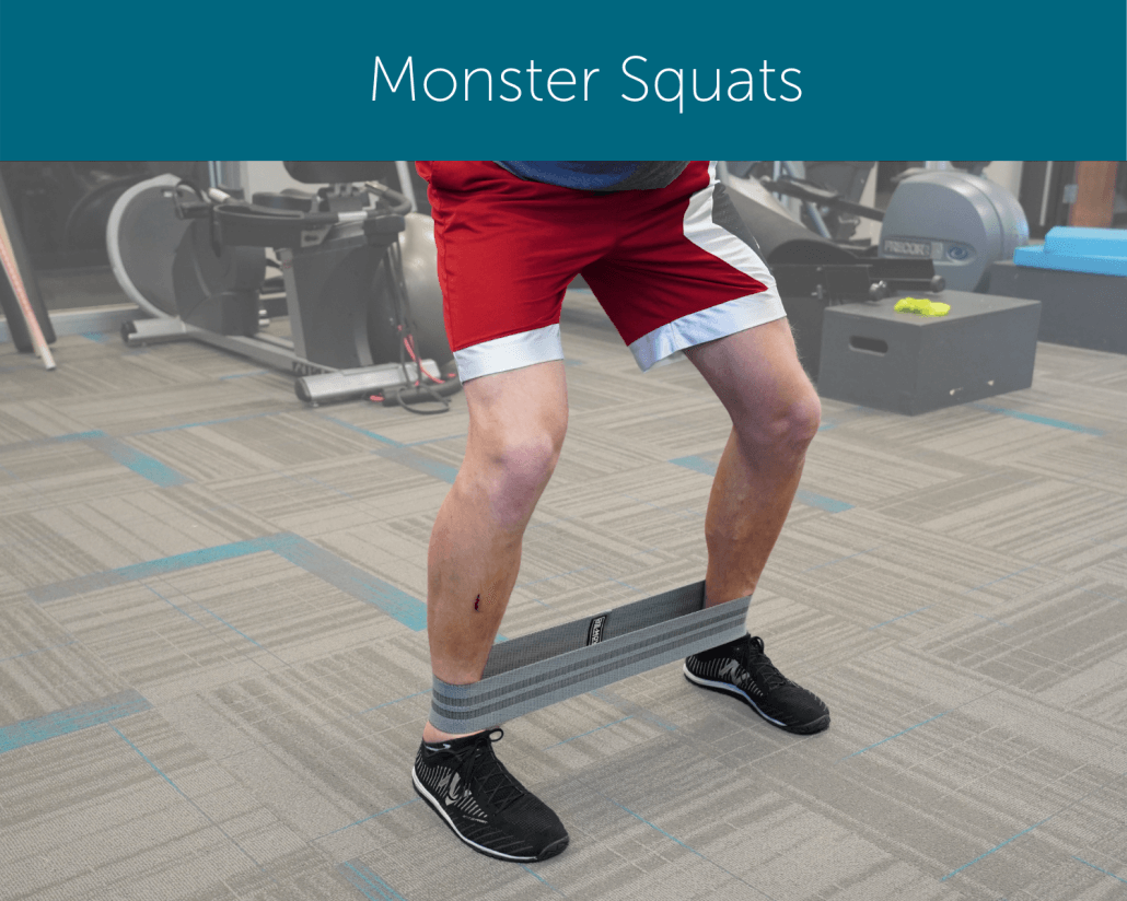 Orthopedic Institute physical therapist demonstrates how to perform a monster squat with a resistance band.