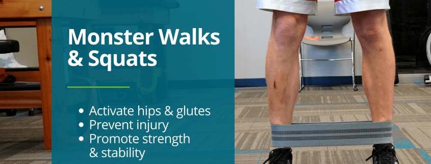 Orthopedic Institute physical therapist demonstrates Monster Walks and Monster squats to activate glutes and hips.