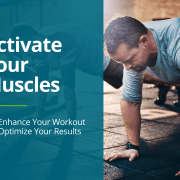 Man demonstrates a push up to activate your muscles prior to working out.